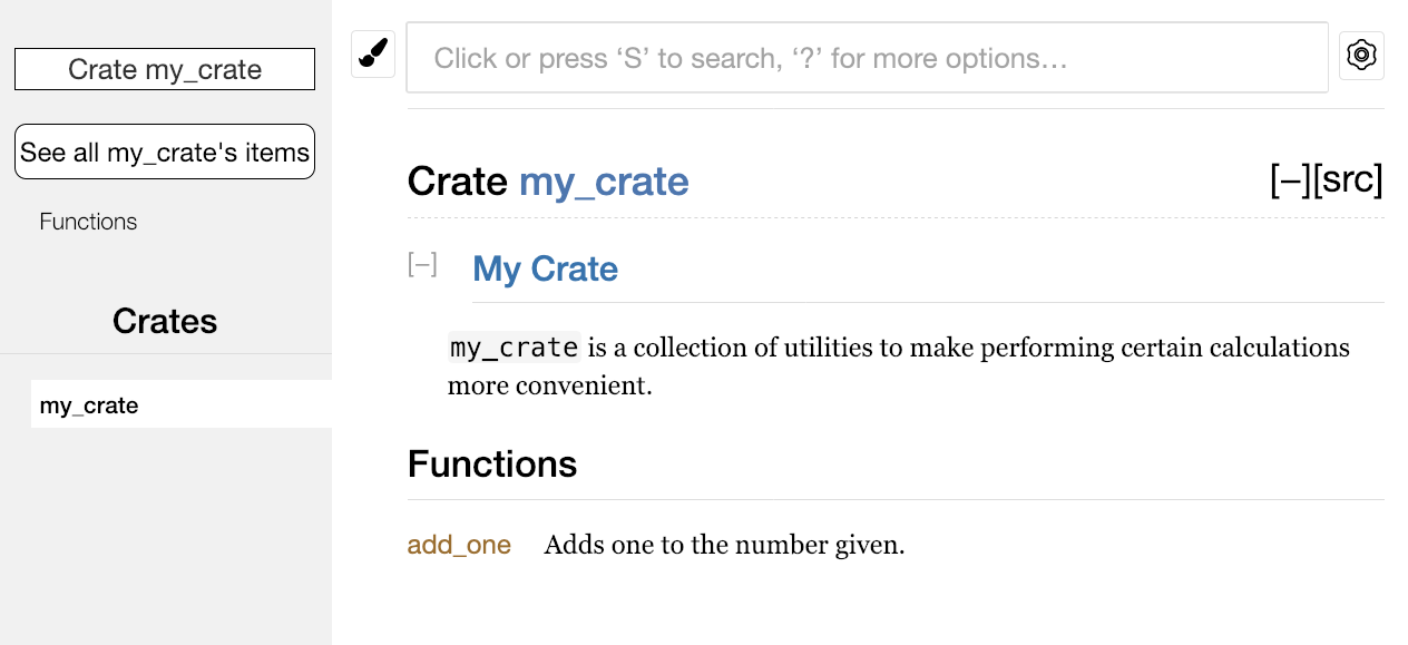 Rendered HTML documentation with a comment for the crate as a whole